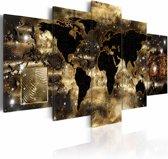 Schilderij - Wereldkaart bij nacht, Zwart/Goud, 2 Maten, 5luik