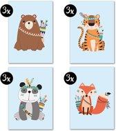 Dieren Kaartenset Kinderkaarten DesignClaud - 12 stuks