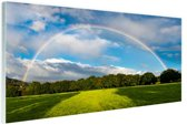 Spectaculaire dubbele regenboog Glas 120x80 cm - Foto print op Glas (Plexiglas wanddecoratie)