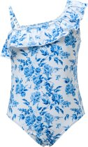 Snapper Rock UV Badpak - Cottage Floral - Wit/Blauw - maat 128-134