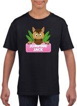 Jumping Jack t-shirt zwart voor meisjes - paarden shirt XS (110-116)