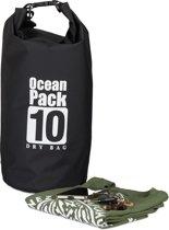 relaxdays Oceaan Pack 10 Liter - Dry Bag - outdoor droogtas - waterdichte tas tegen regen zwart