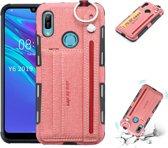 Let op type!! Voor Huawei Y6 (2019) doek textuur + TPU schokbestendige beschermhoes met metalen ring & houder & kaartsleuven & hangende riem (roze)