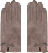 Zachte dames handschoenen Elements Beige Strik warme handschoenen