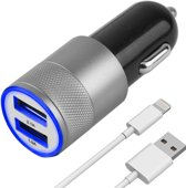 MMOBIEL High speed autolader oplaad adapter met 2 USB poorten 2.1A + 1.0A met een top kwaliteit lightning kabel voor Apple iPhone, iPad en iPod