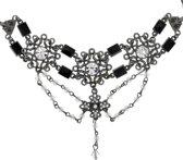 Ketting antiek zilverkleur met bloem hangers