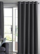 Verduisterend 144 x 180 cm Antraciet met ringen Kant en klaar gordijn geschikt voor roede systemen | RUBEN luxe zonwerende gordijnen