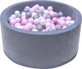Ballenbak - stevige ballenbad -90 x 40 cm - 200 ballen Ø 7 cm - roze, wit, grijs