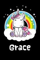 Grace: Personalized Name Notebook Blank Journal For Girls Or Women With Unicorn
