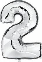 Folie Ballon Cijfer 2 Zilver 100cm leeg