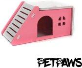 Petpaws - Houten huisje voor kleine knaagdieren - Roze