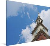 Independence Hall met blauwe lucht en wolken in de Verenigde Staten Canvas 180x120 cm - Foto print op Canvas schilderij (Wanddecoratie woonkamer / slaapkamer) XXL / Groot formaat!