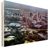 Luchtfoto van Adelaide in Australië Vurenhout met planken 80x60 cm - Foto print op Hout (Wanddecoratie)