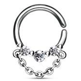 Helix piercing hoop ring 3 steentjes met ketting ©LMPiercings