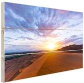 Woestijn tijdens zonsopkomst Hout 30x20 cm - klein - Foto print op Hout (Wanddecoratie)