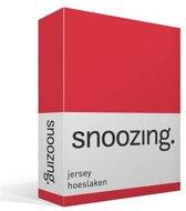 Snoozing Jersey - Hoeslaken - 100% gebreide katoen - 180x210/220 cm - Rood