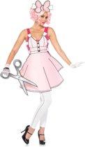 Paper Doll kostuum - S - Roze, Wit - Leg Avenue
