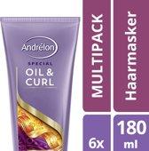 Andrelon Oil & Curl - 6 stuks- haarmasker - voordeelverpakking
