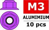Team Corally - Aluminium zelfborgende zeskantmoer met flens - M3 - Paars - 10 st