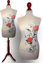 Artistic flower design paspop met donker bruine sparkling driepoot 36/38