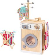 howa Houten Speelgoed Wasmachine met strijkplank, mand en strijkijzer 48141