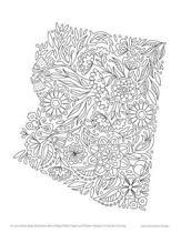 Arizona State Map Notebook with College Ruled Pages and Flower Margins for Adult Coloring