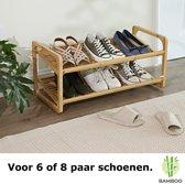 Decopatent® Bamboe schoenenrek - Met 2 etages – Voor 6 tot 9 paar schoenen