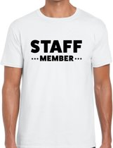 Staff member tekst t-shirt wit heren - evenementen personeel / crew shirt XL
