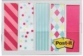 Post-it® Index, Draagbare Set, Candy Motief, 12 x 43mm, 20 Tabs/Kleur, 5 kleuren /Dispenser