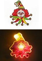 Broche Clown rood/geel/groen met licht