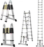 Telescopische Ladder 14 treeds - Inklapbaar - Werkhoogte 4.40m