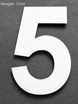 Xaptovi Huisnummer 5 Materiaal: RVS - Hoogte: 15cm - Kleur: Wit