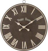 J-Line - Klok - Bruin - Metaal - Happy House - 69,5 cm x 65 cm
