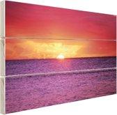 Zonsondergang over paarse zee Hout 30x20 cm - Foto print op Hout (Wanddecoratie)