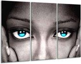 Canvas schilderij Ogen | Grijs, Zwart, Blauw | 120x80cm 3Luik