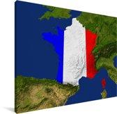 Satellietbeeld van Frankrijk met de vlag van het land Canvas 80x60 cm - Foto print op Canvas schilderij (Wanddecoratie woonkamer / slaapkamer)