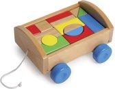 Houten blokkenkar - 14 bouwstenen - Speelgoed vanaf 1 jaar