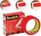 2x Scotch plakband Secure Tape rood