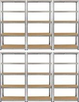 Monster Racking 6 x Galwix Steel Shelving, 150kg/shelf, 75 x 30 x 150cm, 5 Tier Galvanised Storage