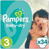 Pampers Baby-Dry Luiers Maat 3 (Midi) 5-9 kg 34 Stuks