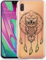 Galaxy A40 Hoesje Dream Owl Mandala Black