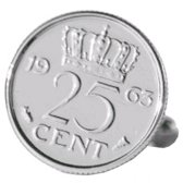 Manchetknopen Munt - 25 cent 1963