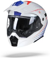 Scorpion ADX-1 Horizon Pearl Wit Rood Blauw Systeemhelm - Motorhelm - Maat M