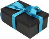 Zwart glitter cadeaudoosje 22 cm rechthoekig met turquoise blauw lint - kadodoosjes / cadeauverpakking