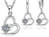 925 sterling zilveren sieraden voor vrouwen Hart CZ Kristal Kettingen Oorbel