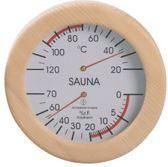 Sauna Thermo + Hygrometer rond met luxe houten omlijsting (⌀ 16cm)