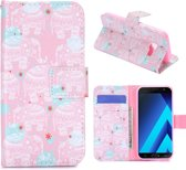 Hoesje geschikt voor Samsung Galaxy A5 (2017), 3-in-1 bookcase met print, olifanten