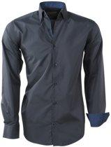 Brentford and Son - Heren Overhemd - Ongetailleerd - Design in de kraag - Antraciet