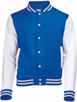 Blauw met wit college jacket voor heren S
