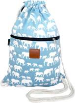 Rugtas Elephant Herd Blue   T-Bags   100% Katoen   14 Liter   Blauw & Wit   Comfortabel